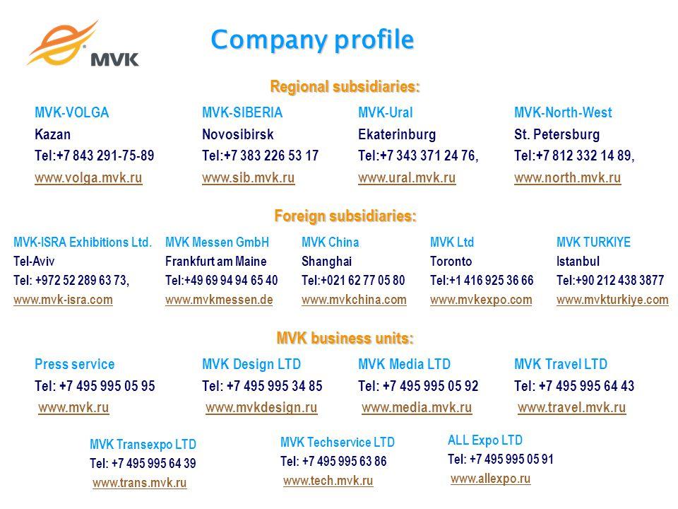 Company profile Regional subsidiaries: MVK-VOLGA Kazan Tel:+7 843 291-75-89 www.volga.mvk.ru MVK-SIBERIA Novosibirsk Tel:+7 383 226 53 17 www.sib.mvk.ru MVK-Ural Ekaterinburg Tel:+7 343 371 24 76, www.ural.mvk.ru MVK-North-West St.