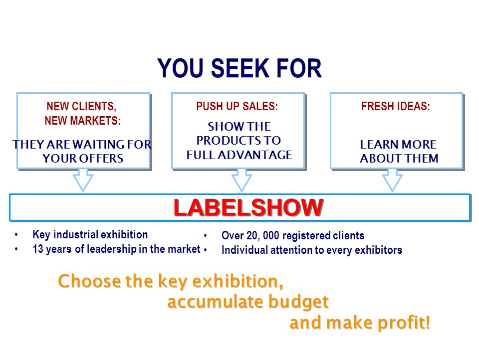 YOUR AIMS OBTAIN SUCCESS MAINTAIN BUSINESS YOU SEEK FOR NEW CLIENTS, NEW MARKETS: PUSH UP SALES:FRESH IDEAS: LABELSHOW Key industrial exhibition 13 years of leadership in the market THEY ARE WAITING FOR YOUR OFFERS SHOW THE PRODUCTS TO FULL ADVANTAGE LEARN MORE ABOUT THEM Choose the key exhibition, accumulate budget and make profit.