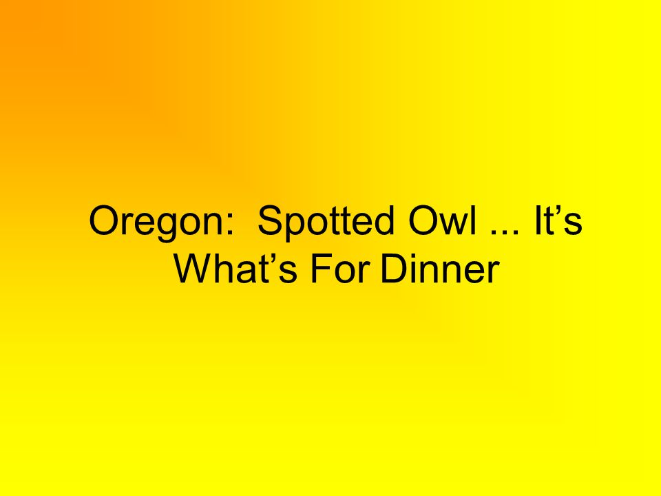 Oregon: Spotted Owl... Its Whats For Dinner