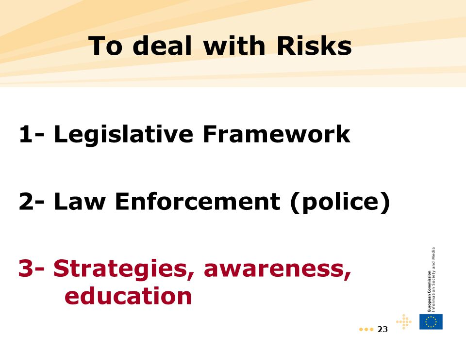 23 To deal with Risks 1- Legislative Framework 2- Law Enforcement (police) 3- Strategies, awareness, education