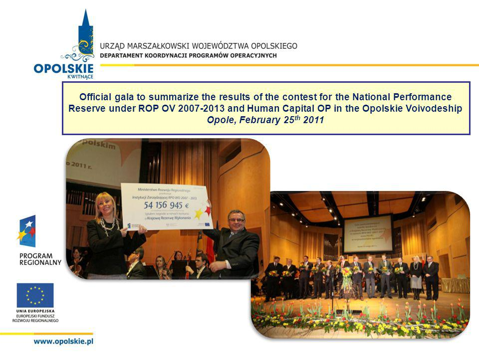 Official gala to summarize the results of the contest for the National Performance Reserve under ROP OV 2007-2013 and Human Capital OP in the Opolskie Voivodeship Opole, February 25 th 2011