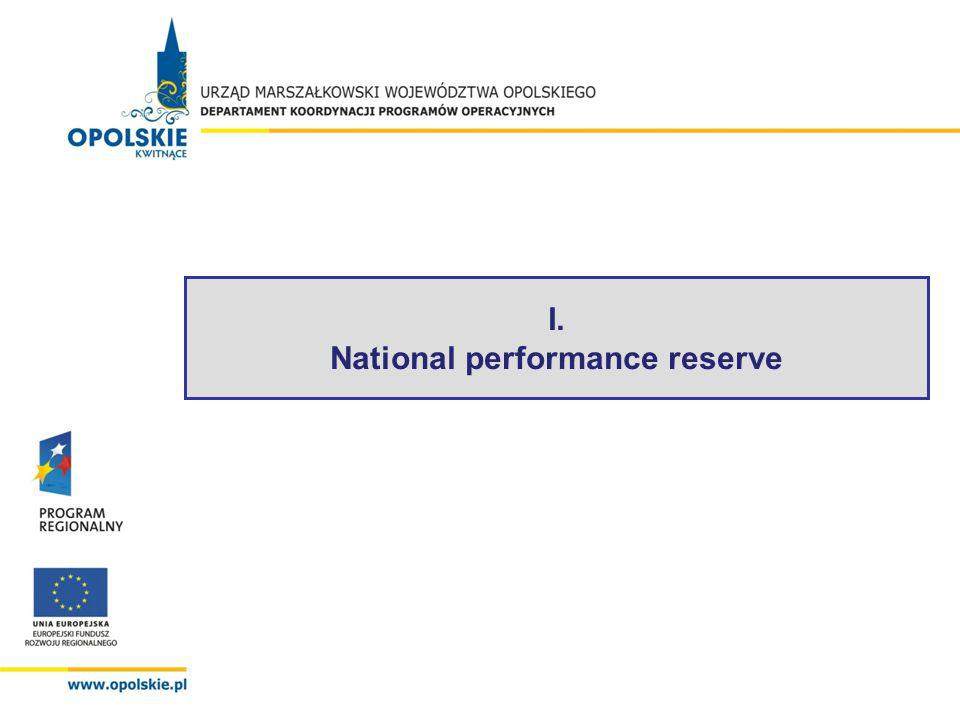 Results of national performance reserve – Opolskie voivodeship (2008-2010) 46 % - level of certification to EC 99 % - level of contracting 42 % - level of EFRD payments