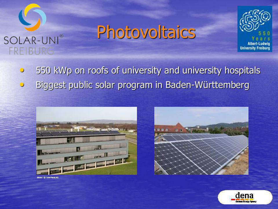 Photovoltaics 550 kWp on roofs of university and university hospitals 550 kWp on roofs of university and university hospitals Biggest public solar pro