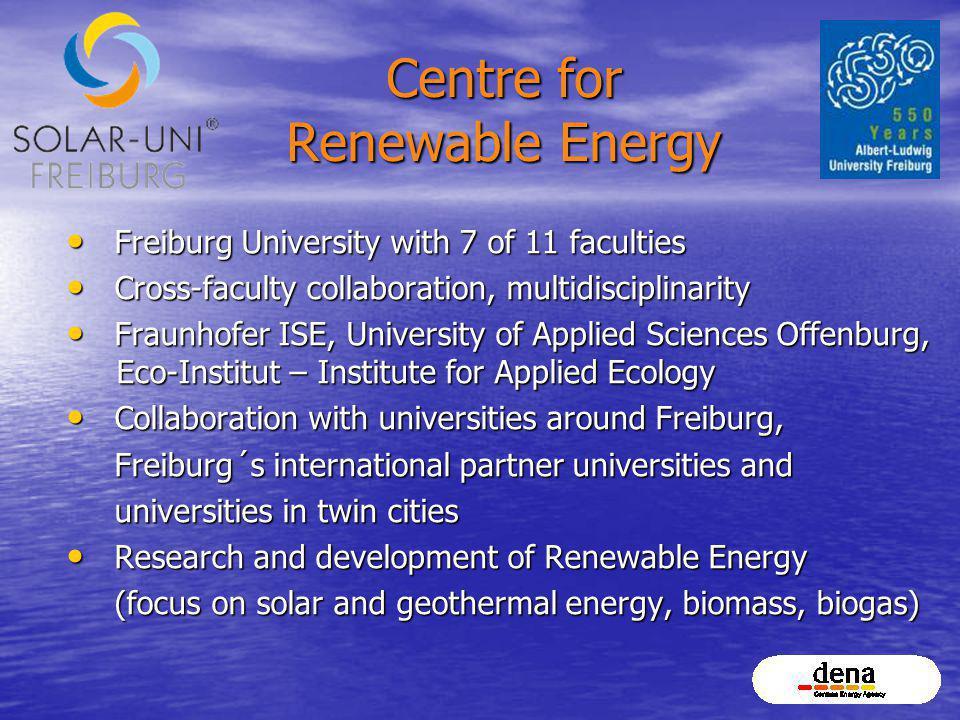 Centre for Renewable Energy Freiburg University with 7 of 11 faculties Freiburg University with 7 of 11 faculties Cross-faculty collaboration, multidi