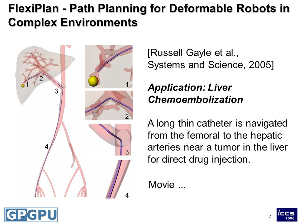 7 FlexiPlan - Path Planning for Deformable Robots in Complex Environments [Russell Gayle et al., Systems and Science, 2005] Application: Liver Chemoembolization A long thin catheter is navigated from the femoral to the hepatic arteries near a tumor in the liver for direct drug injection.