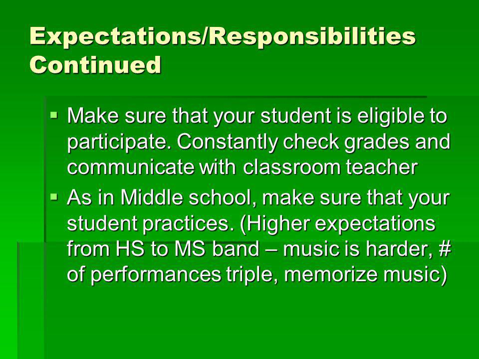 Expectations/Responsibilities Continued Make sure that your student is eligible to participate.