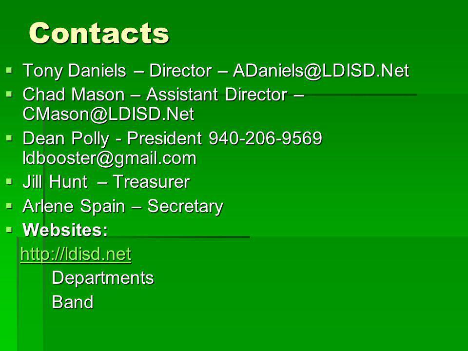 Contacts Tony Daniels – Director – ADaniels@LDISD.Net Tony Daniels – Director – ADaniels@LDISD.Net Chad Mason – Assistant Director – CMason@LDISD.Net Chad Mason – Assistant Director – CMason@LDISD.Net Dean Polly - President 940-206-9569 ldbooster@gmail.com Dean Polly - President 940-206-9569 ldbooster@gmail.com Jill Hunt – Treasurer Jill Hunt – Treasurer Arlene Spain – Secretary Arlene Spain – Secretary Websites: Websites: http://ldisd.net http://ldisd.nethttp://ldisd.net DepartmentsBand