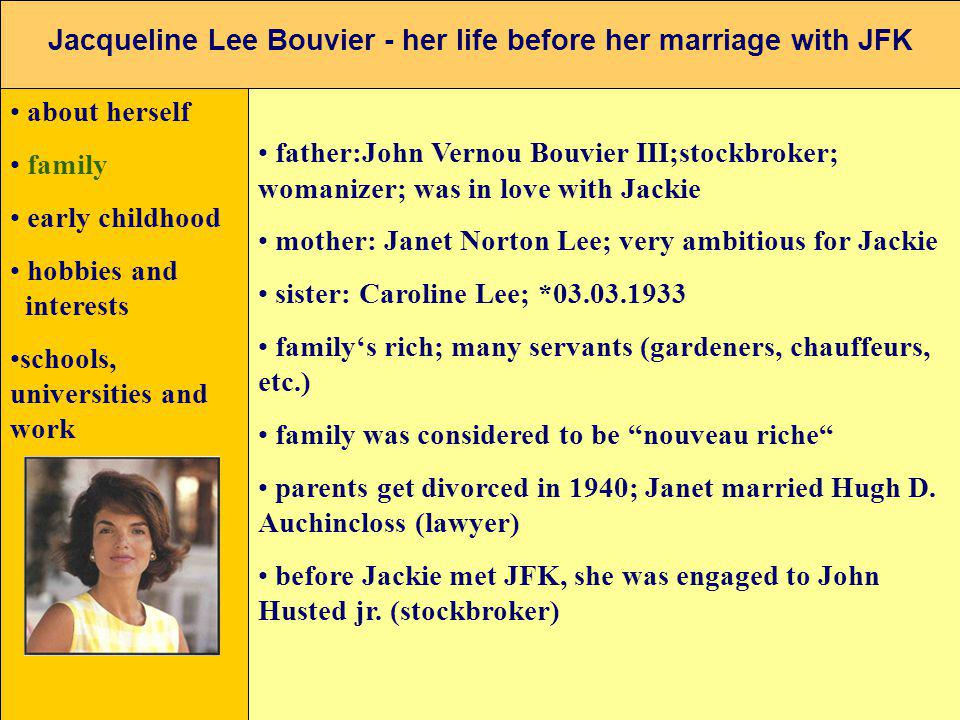 Jacqueline Lee Bouvier - her life before her marriage with JFK about herself family early childhood hobbies and interests schools, universities and wo