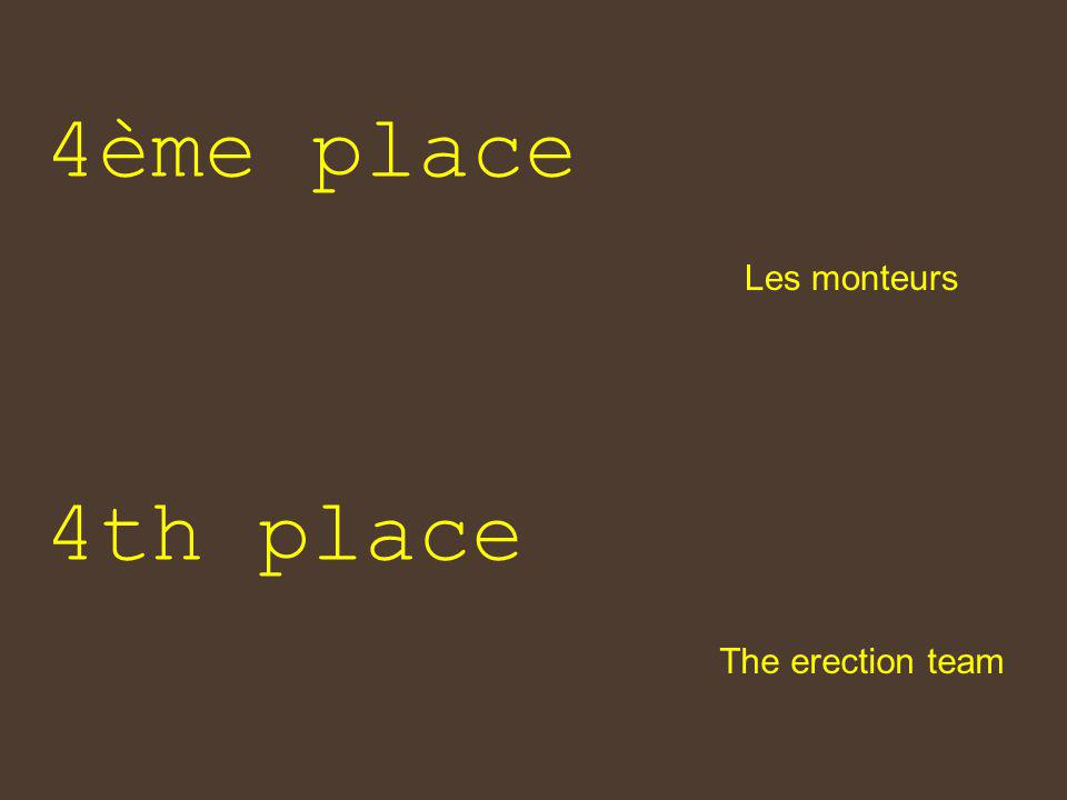 4ème place The erection team 4th place Les monteurs