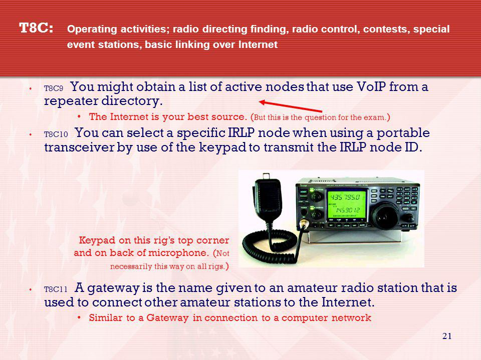 21 T8C: Operating activities; radio directing finding, radio control, contests, special event stations, basic linking over Internet T8C9 You might obt