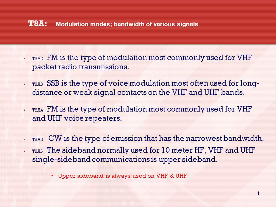 4 4 T8A: Modulation modes; bandwidth of various signals T8A2 FM is the type of modulation most commonly used for VHF packet radio transmissions. T8A3