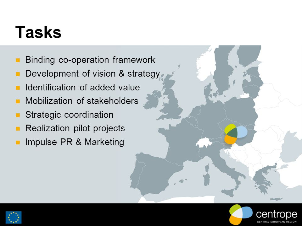 Tasks Binding co-operation framework Development of vision & strategy Identification of added value Mobilization of stakeholders Strategic coordination Realization pilot projects Impulse PR & Marketing
