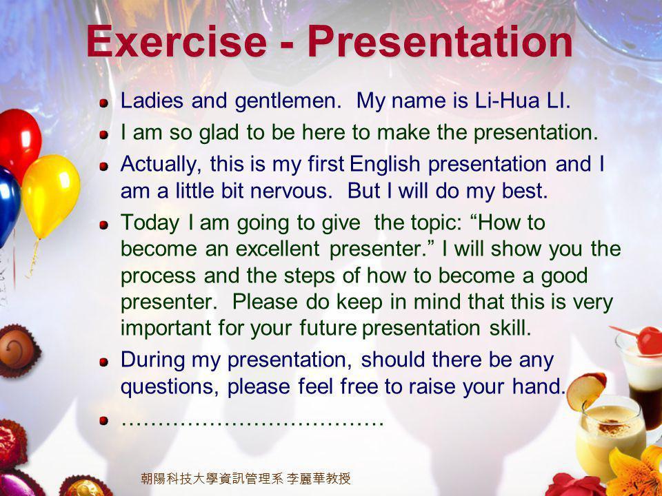 Ladies and gentlemen. My name is Li-Hua LI. I am so glad to be here to make the presentation.
