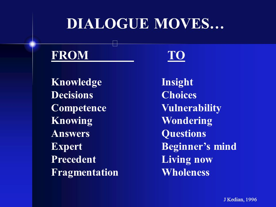 FROM TO KnowledgeInsight DecisionsChoices CompetenceVulnerability KnowingWondering AnswersQuestions ExpertBeginners mind PrecedentLiving now Fragmenta