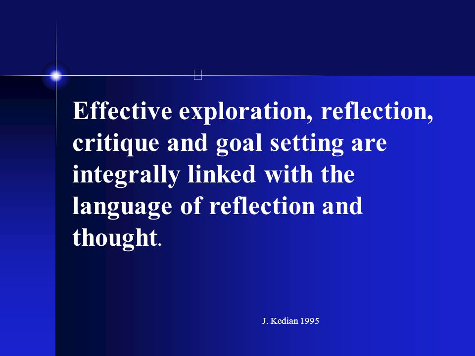 Effective exploration, reflection, critique and goal setting are integrally linked with the language of reflection and thought. J. Kedian 1995