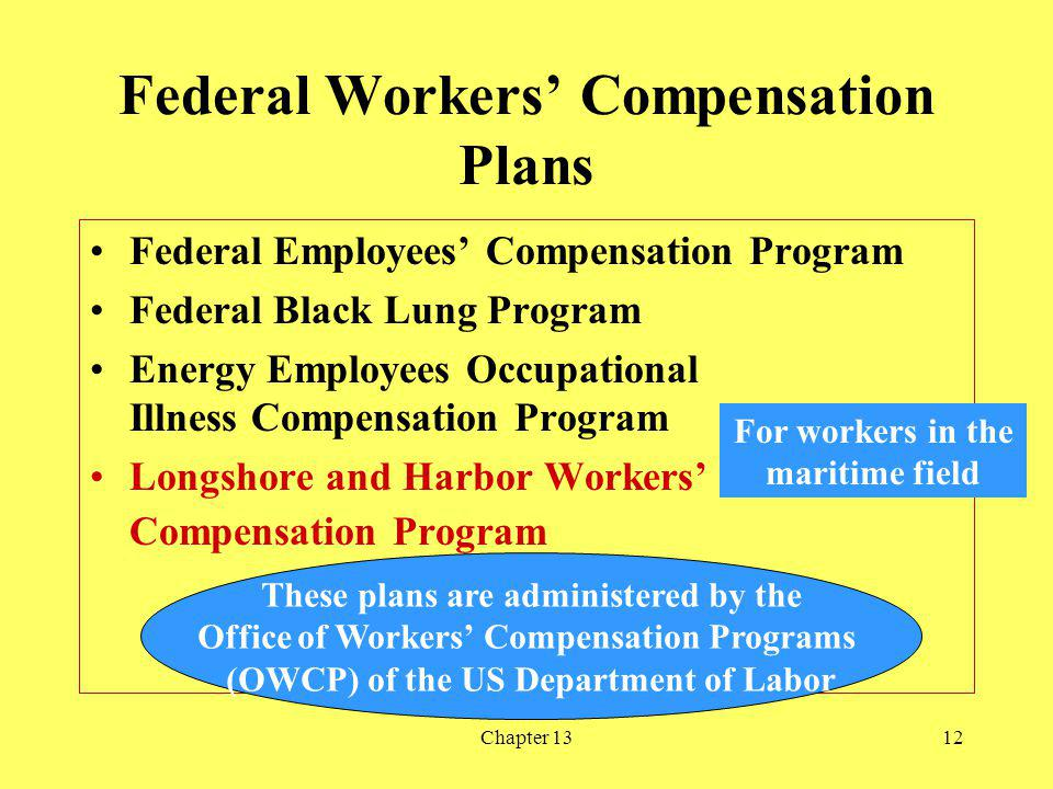 Chapter 1312 Federal Workers Compensation Plans Federal Employees Compensation Program Federal Black Lung Program Energy Employees Occupational Illness Compensation Program Longshore and Harbor Workers Compensation Program For workers in the maritime field These plans are administered by the Office of Workers Compensation Programs (OWCP) of the US Department of Labor
