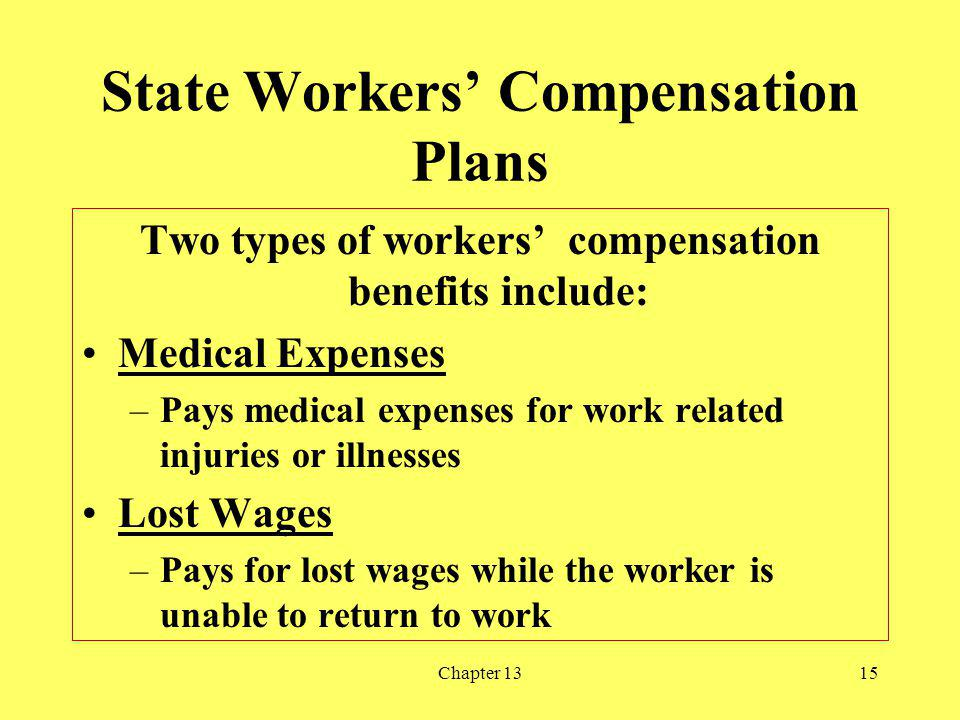 Chapter 1315 State Workers Compensation Plans Two types of workers compensation benefits include: Medical Expenses –Pays medical expenses for work related injuries or illnesses Lost Wages –Pays for lost wages while the worker is unable to return to work
