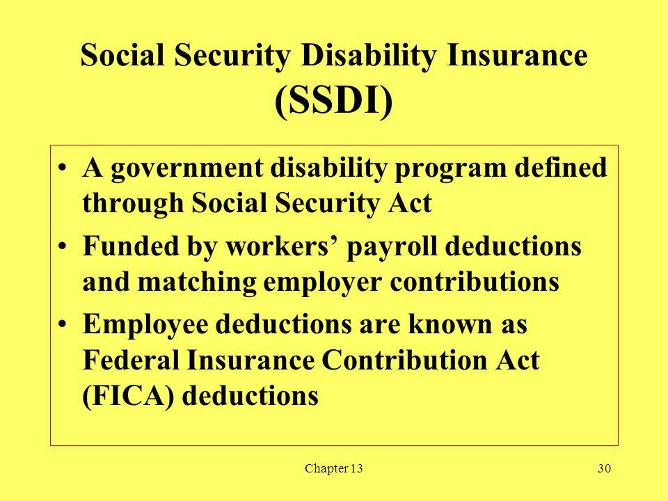 Chapter 1330 Social Security Disability Insurance (SSDI) A government disability program defined through Social Security Act Funded by workers payroll deductions and matching employer contributions Employee deductions are known as Federal Insurance Contribution Act (FICA) deductions