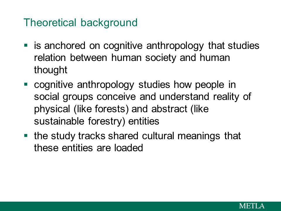 Theoretical background continued shared meanings are organised and represented as cultural models that steer human behaviour together with biological base (genes) and physical environment cultural models are building bricks for understanding the reality and cosmos, and how to operate there concept meme comes fairly close to cultural model by studying cultural models of nature-use we can track needs, hopes, beliefs and values concerning sustainable use of nature Dawkins 1996; D´Andrade 1995; Shore 1996; Strauss & Quinn 1997; Blackmore 1999