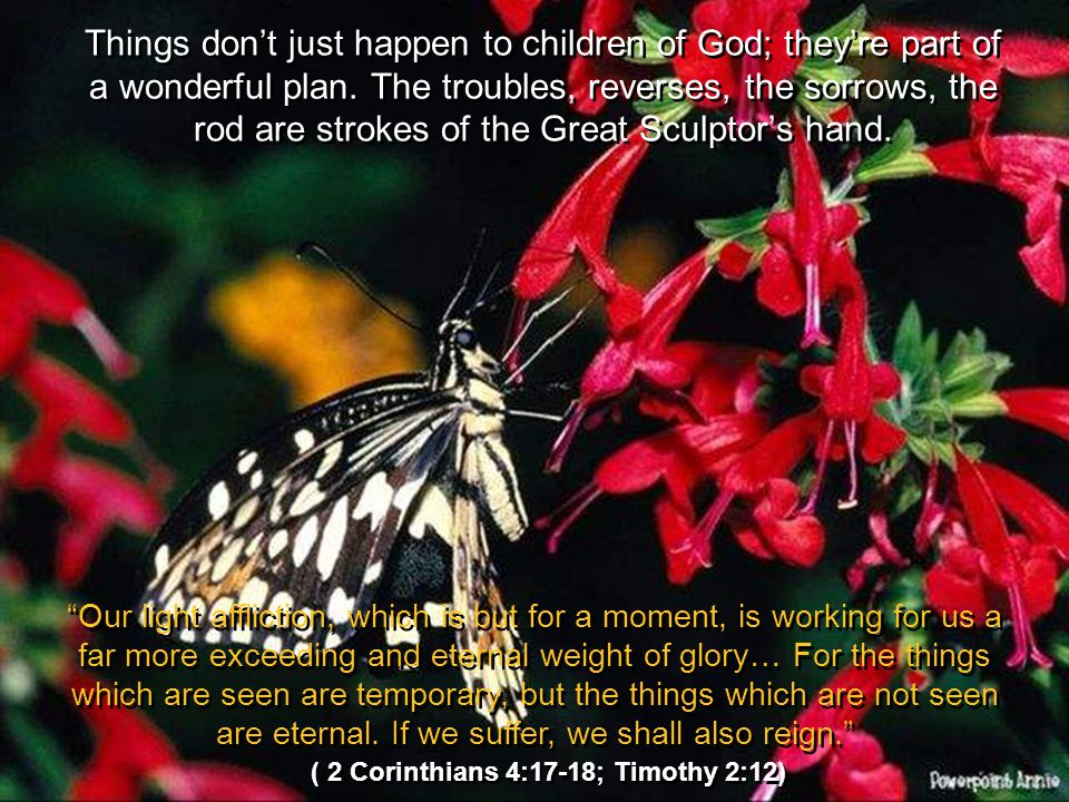 Things dont just happen to children of God; theyre part of a wonderful plan. The troubles, reverses, the sorrows, the rod are strokes of the Great Scu