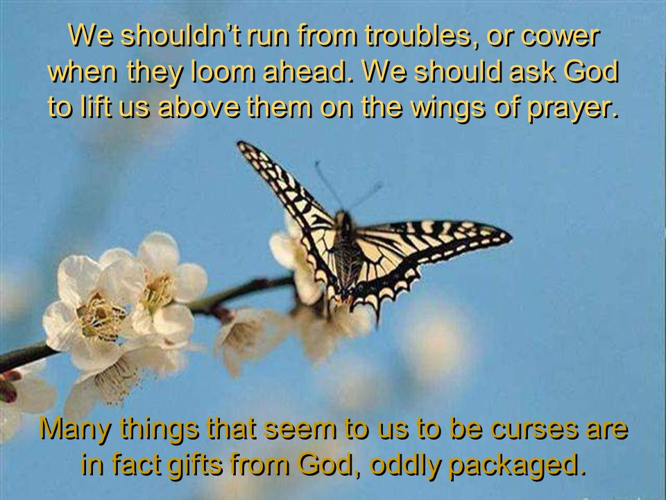 We shouldnt run from troubles, or cower when they loom ahead. We should ask God to lift us above them on the wings of prayer. Many things that seem to