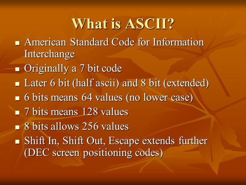 What is ASCII.