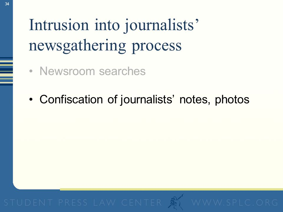 34 Intrusion into journalists newsgathering process Newsroom searches Confiscation of journalists notes, photos