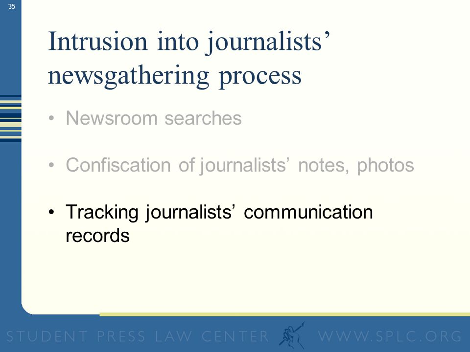 35 Intrusion into journalists newsgathering process Newsroom searches Confiscation of journalists notes, photos Tracking journalists communication records