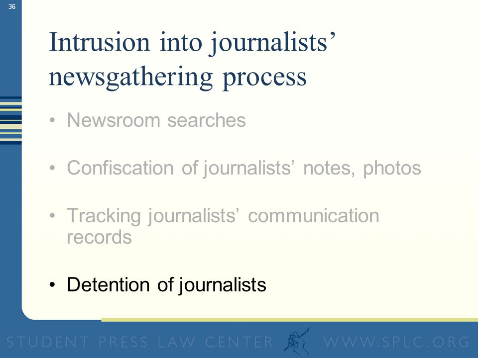 36 Intrusion into journalists newsgathering process Newsroom searches Confiscation of journalists notes, photos Tracking journalists communication records Detention of journalists