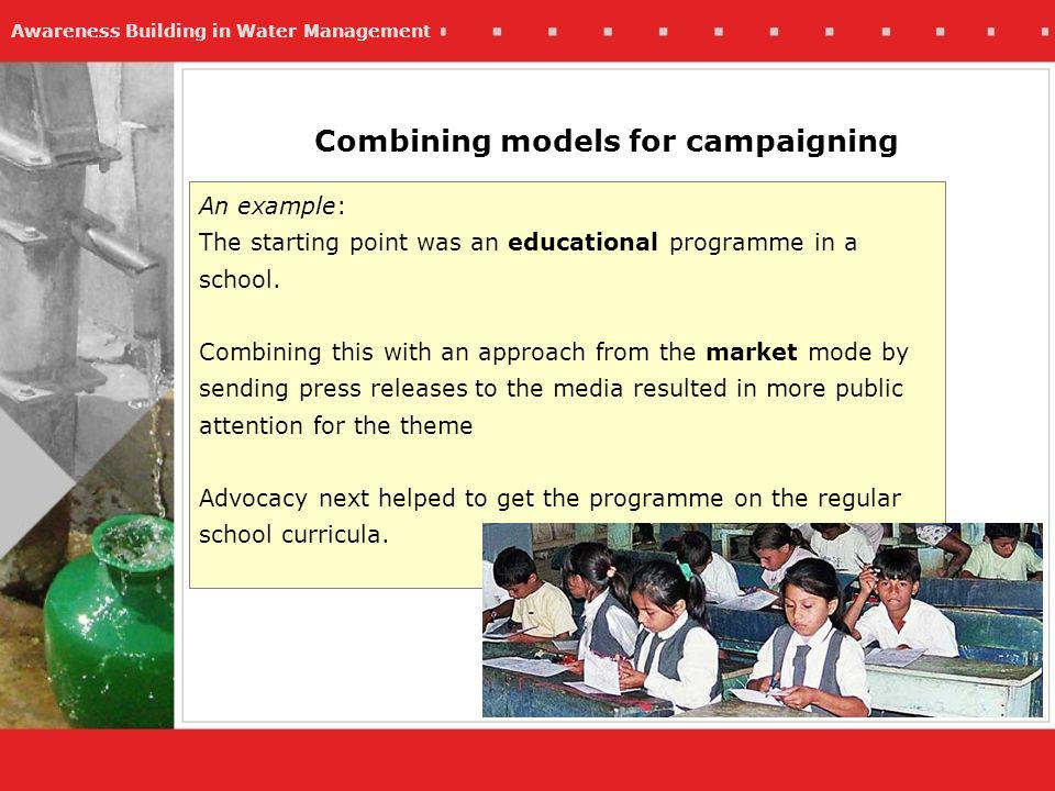 Awareness Building in Water Management Combining models for campaigning An example: The starting point was an educational programme in a school.