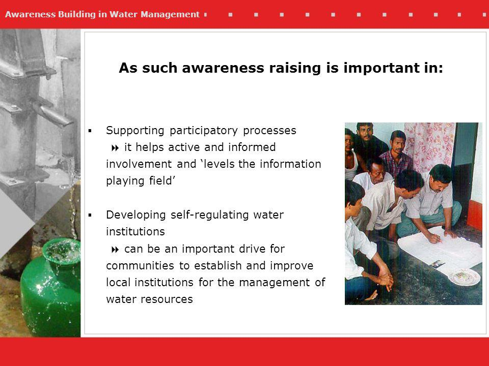 Awareness Building in Water Management Examples Young people as promoters and activists: Involving children in finding and reporting water leaks
