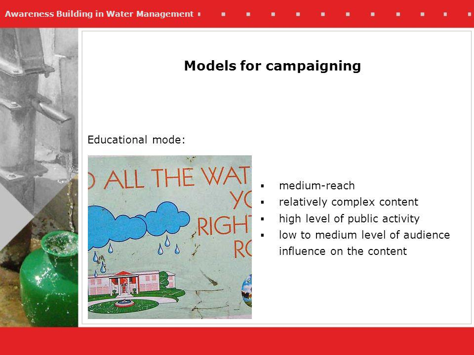 Awareness Building in Water Management Models for campaigning medium-reach relatively complex content high level of public activity low to medium level of audience influence on the content Educational mode: