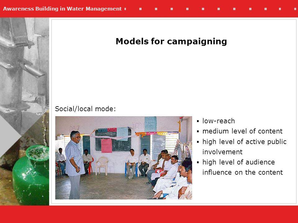 Awareness Building in Water Management Models for campaigning Social/local mode: low-reach medium level of content high level of active public involvement high level of audience influence on the content