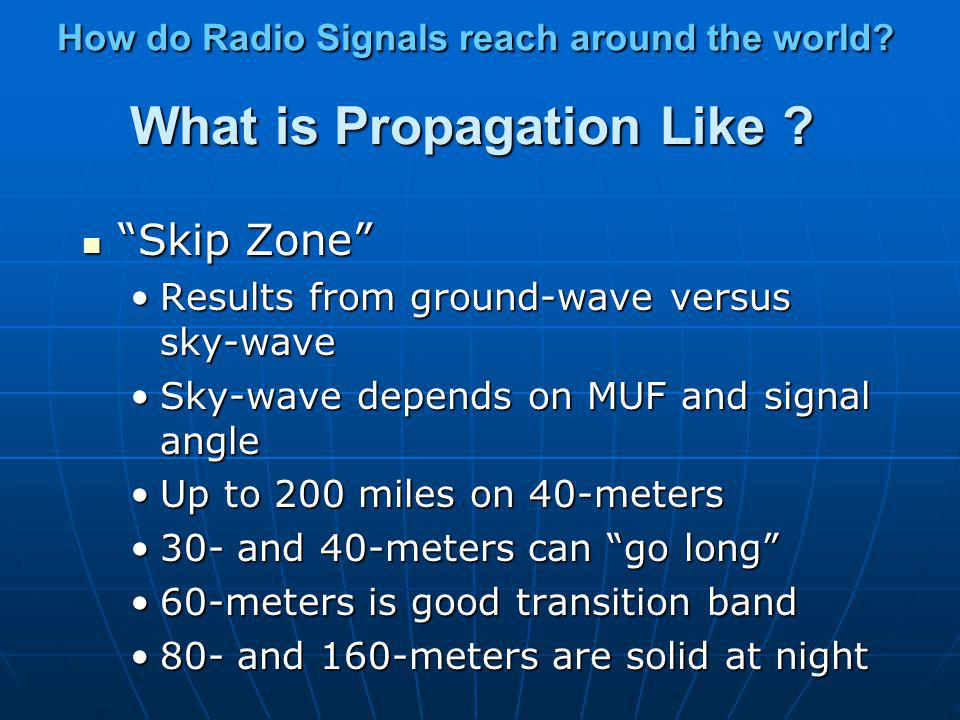 What is Propagation Like ? High-bands and Low-bands High-bands and Low-bands High: 20 - 10 meters (14 -28 MHz)High: 20 - 10 meters (14 -28 MHz) Highes