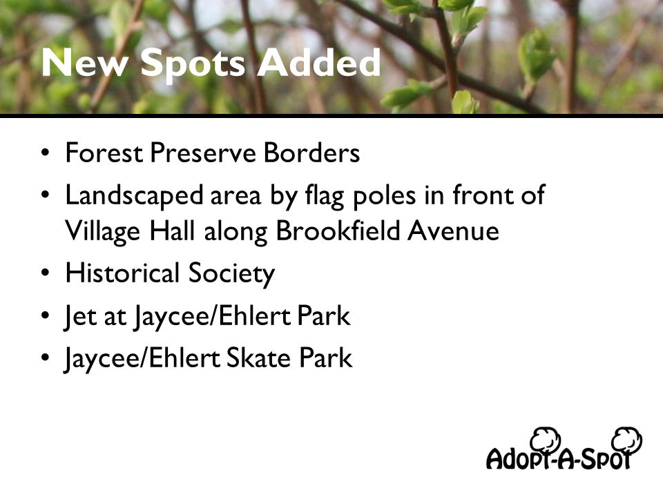New Spots Added Forest Preserve Borders Landscaped area by flag poles in front of Village Hall along Brookfield Avenue Historical Society Jet at Jaycee/Ehlert Park Jaycee/Ehlert Skate Park