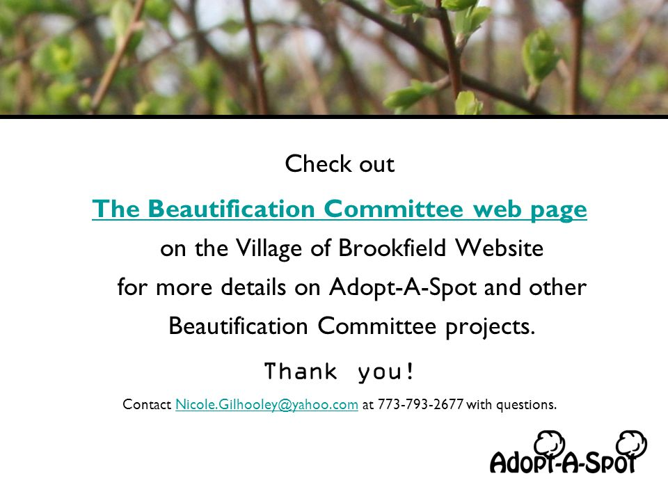 Check out The Beautification Committee web page The Beautification Committee web page on the Village of Brookfield Website for more details on Adopt-A-Spot and other Beautification Committee projects.