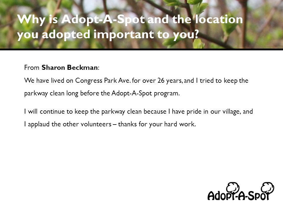 Why is Adopt-A-Spot and the location you adopted important to you? From Sharon Beckman: We have lived on Congress Park Ave. for over 26 years, and I t