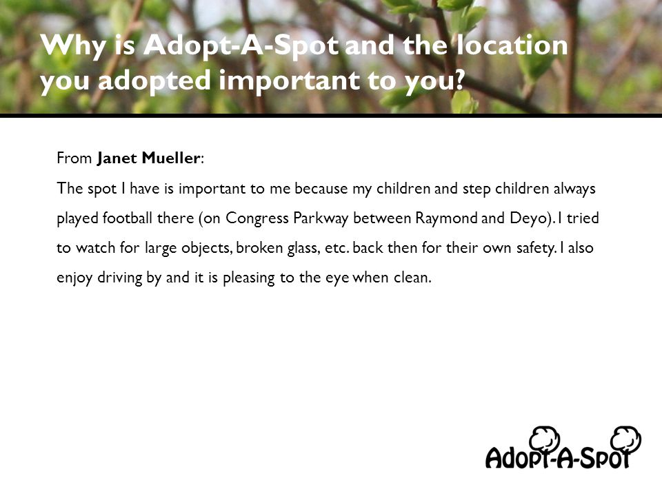 Why is Adopt-A-Spot and the location you adopted important to you? From Janet Mueller: The spot I have is important to me because my children and step