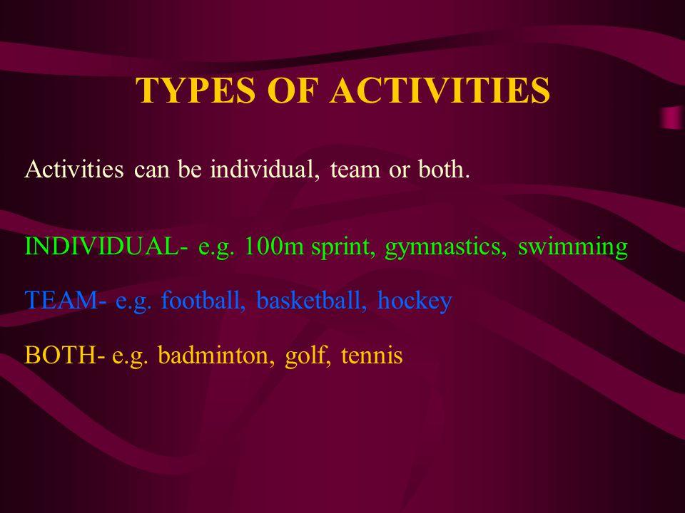 TASK 1 List 5 activities under each appropriate heading.