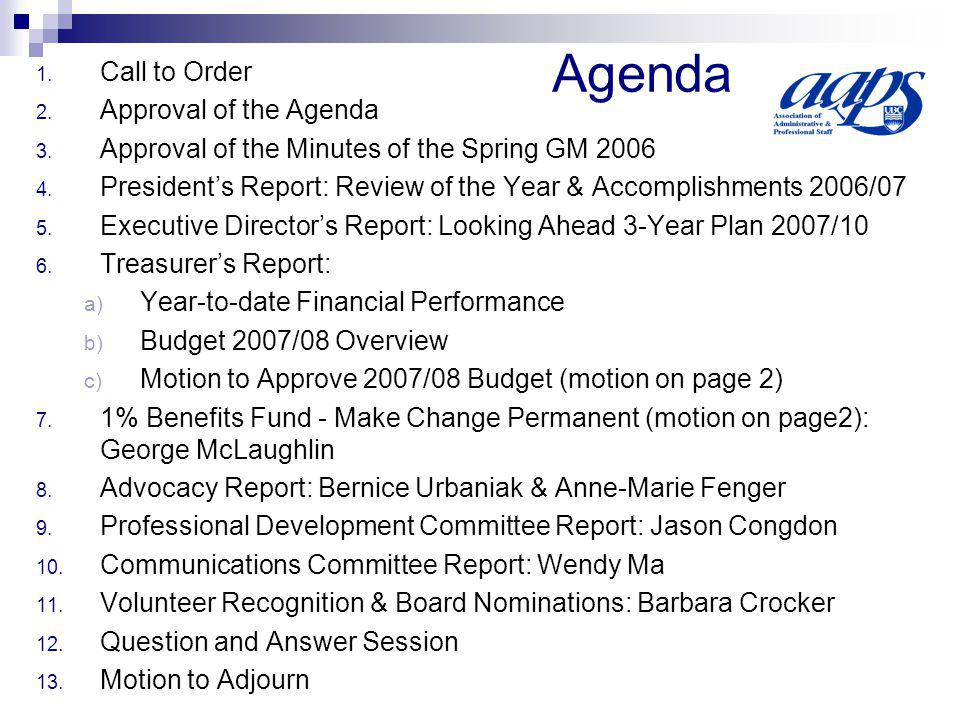 1.Call to Order 2. Approval of the Agenda 3. Approval of the Minutes of the Spring GM 2006 4.