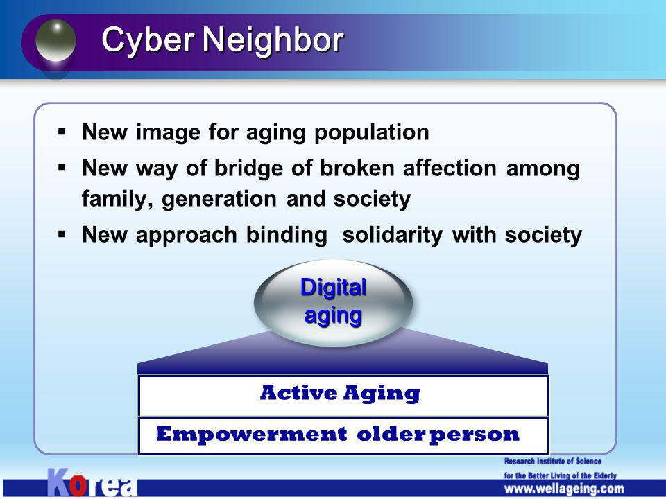 New image for aging population New way of bridge of broken affection among family, generation and society New approach binding solidarity with society
