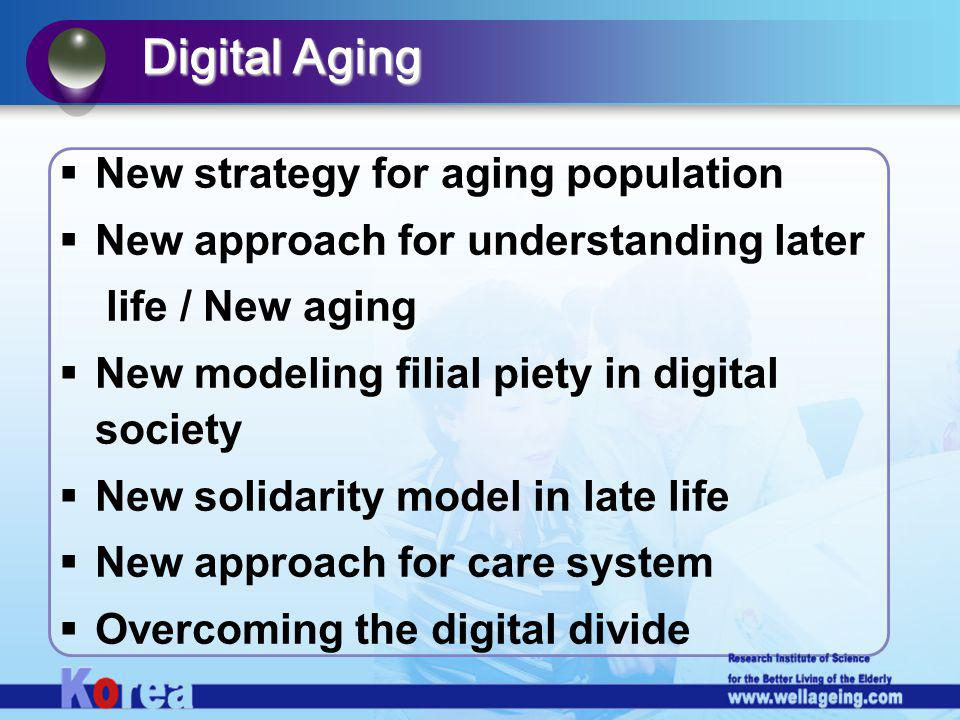 New strategy for aging population New approach for understanding later life / New aging New modeling filial piety in digital society New solidarity model in late life New approach for care system Overcoming the digital divide Digital Aging