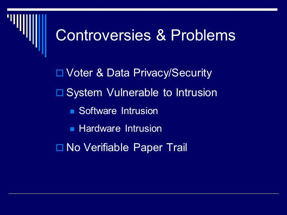 Controversies & Problems Voter & Data Privacy/Security System Vulnerable to Intrusion Software Intrusion Hardware Intrusion No Verifiable Paper Trail
