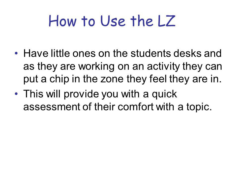 How to Use the LZ Have little ones on the students desks and as they are working on an activity they can put a chip in the zone they feel they are in.