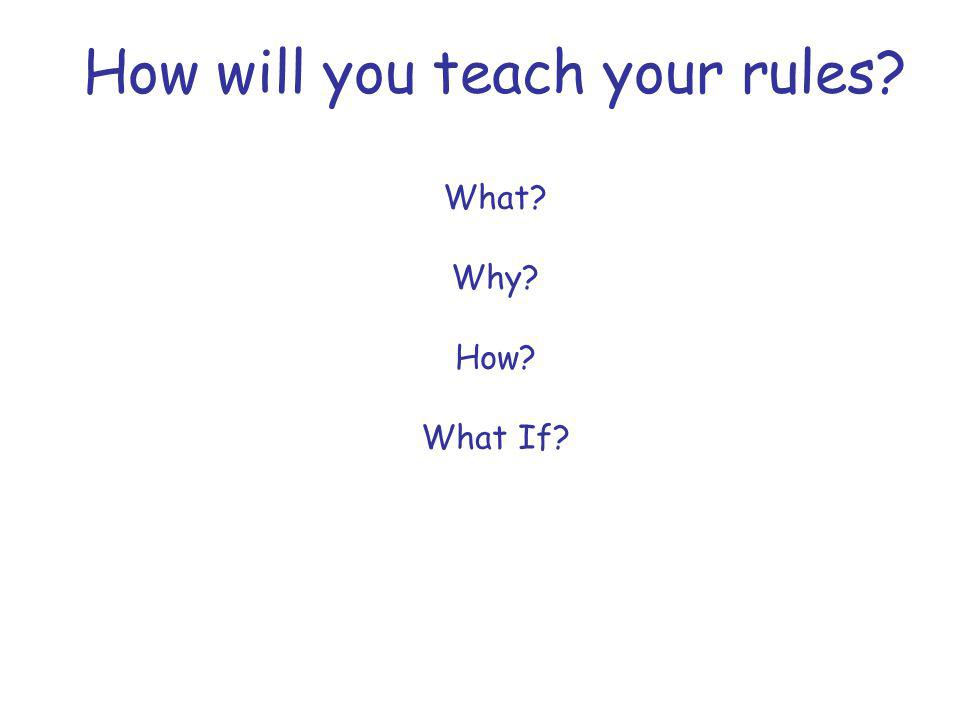 How will you teach your rules? What? Why? How? What If?