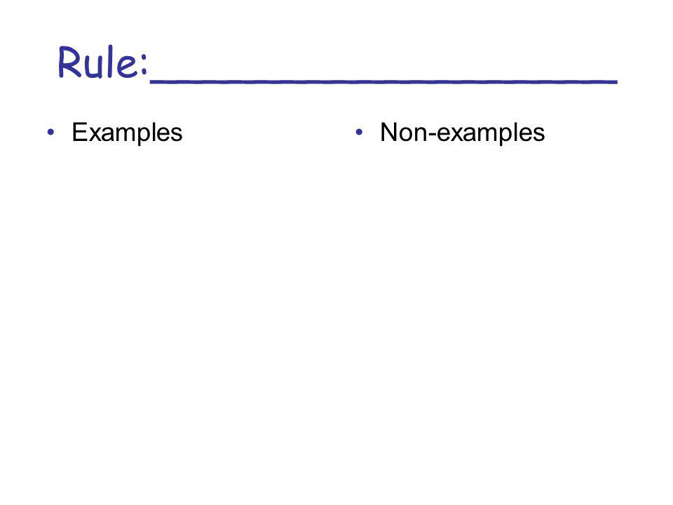 Rule:__________________ ExamplesNon-examples