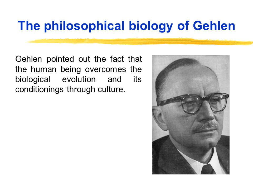The philosophical biology of Gehlen Gehlen pointed out the fact that the human being overcomes the biological evolution and its conditionings through culture.