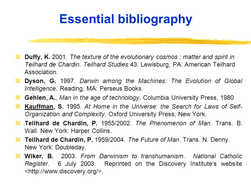 Essential bibliography z Duffy, K. 2001.