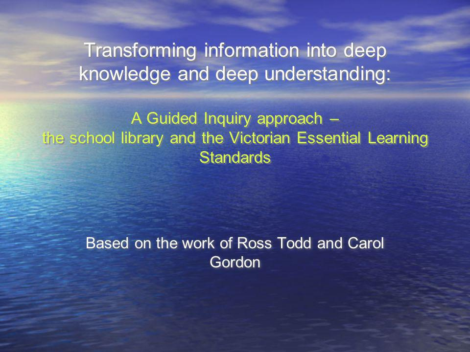 The starting point for inquiry is not: - lets do Dewey - Here are some good web sites - Defining your needs - The librarys research / information process The starting point is - understanding the knowledge outcomes - understanding the disciplinary-based knowledge building process - building interest, engagement, ownership - managing cognitive, behavioral and affective requirements The starting point for inquiry is not: - lets do Dewey - Here are some good web sites - Defining your needs - The librarys research / information process The starting point is - understanding the knowledge outcomes - understanding the disciplinary-based knowledge building process - building interest, engagement, ownership - managing cognitive, behavioral and affective requirements In our school library programs