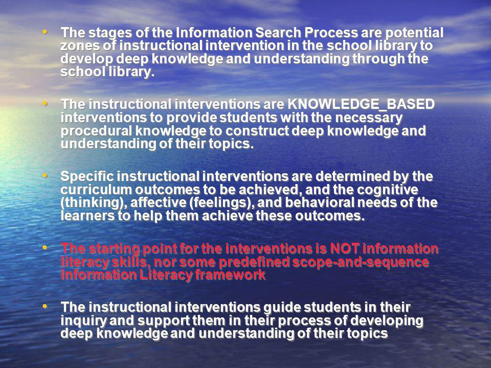 The stages of the Information Search Process are potential zones of instructional intervention in the school library to develop deep knowledge and und